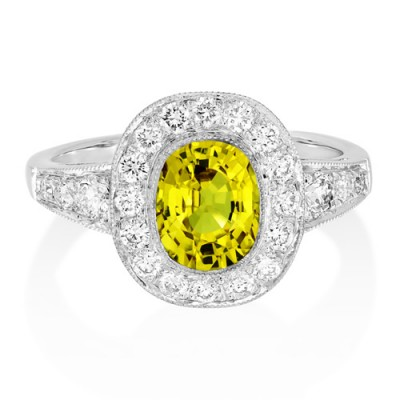 yellow sapphire ring 1.69ct. set with diamond in cluster ring smallest Image