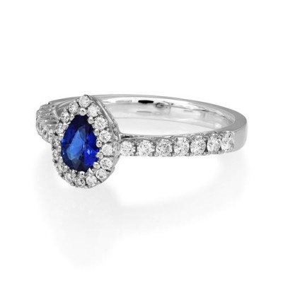 sapphire ring 0.55ct. set with diamond in cluster ring smallest Image