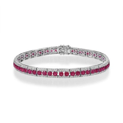 ruby bracelet 4.32ct. set with diamond in tennis bracelet smallest Image