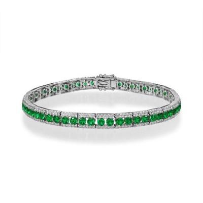 emerald bracelet 3ct. set with diamond in tennis bracelet smallest Image