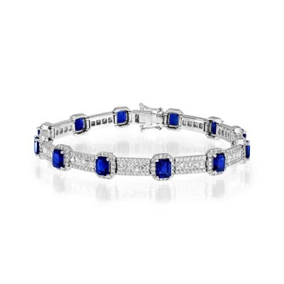 sapphire bracelet 7.03ct. set with diamond in tennis bracelet smallest Image