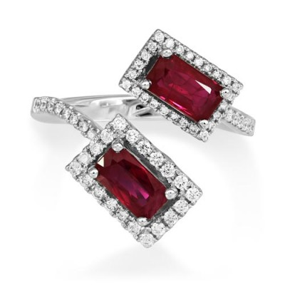 ruby ring 1.9ct. set with diamond in cluster ring smallest Image
