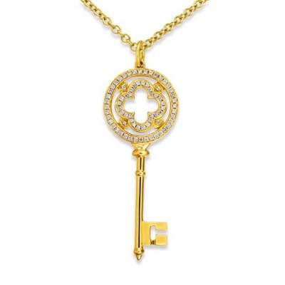 0.31ct. diamond pendant set with diamond in key pendant smallest Image