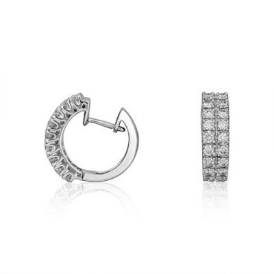 0.59ct. diamond earrings set with diamond in hoop earrings smallest Image
