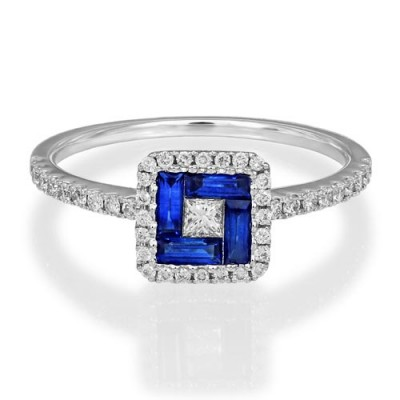 sapphire ring 0.34ct. set with diamond in vintage ring smallest Image