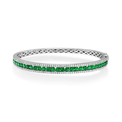 emerald bangle 1.95ct. set with diamond in line bangle smallest Image