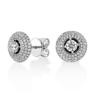 0.98ct. diamond earrings set with diamond in cluster earrings smallest Image
