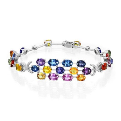 fancy sapphire bracelet 10.87ct. set with diamond in fancy bracelet smallest Image