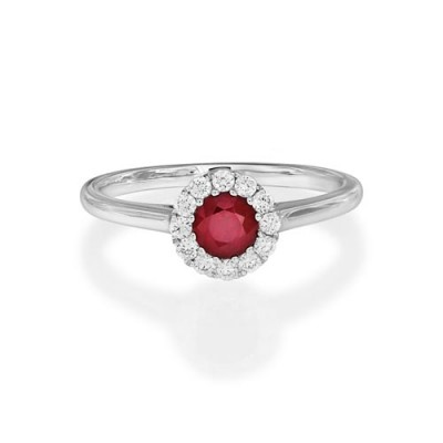 ruby ring 0.51ct. set with diamond in cluster ring smallest Image