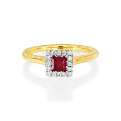ruby ring 0.31ct. set with diamond in cluster ring smallest Image