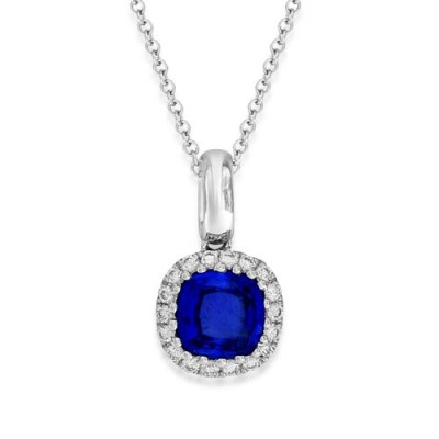 sapphire pendant 0.66ct. set with diamond in cluster pendant smallest Image