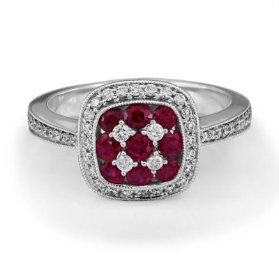 ruby ring 0.6ct. set with diamond in cluster ring smallest Image