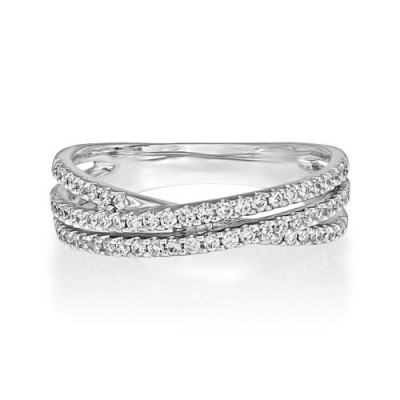 0.39ct. diamond ring set with diamond in crossover ring smallest Image