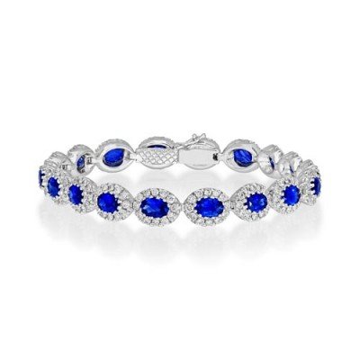 sapphire bracelet 8.4ct. set with diamond in cluster bracelet smallest Image
