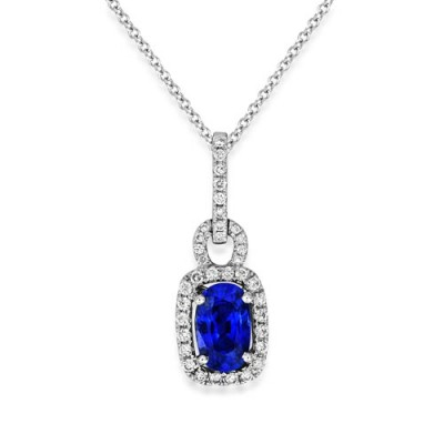 sapphire pendant 1.55ct. set with diamond in cluster pendant smallest Image