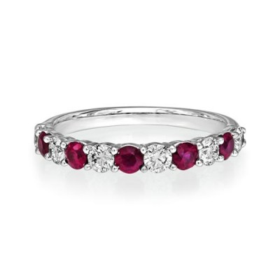ruby ring 0.47ct. set with diamond in eternity ring smallest Image