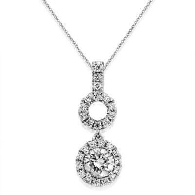 0.61ct. diamond pendant set with diamond in cluster pendant smallest Image