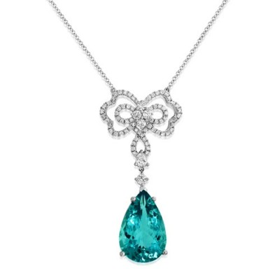 aquamarine necklace 7.35ct. set with diamond in cluster necklace smallest Image