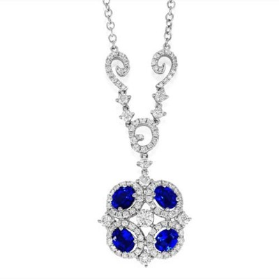 sapphire necklace 1.2ct. set with diamond in cluster necklace smallest Image