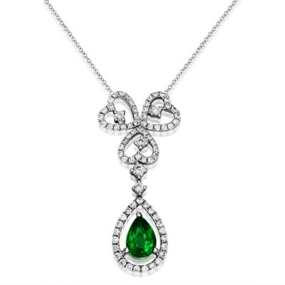 emerald necklace 0.79ct. set with diamond in cluster necklace smallest Image