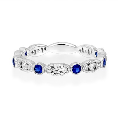 sapphire ring 0.22ct. set with diamond in full eternity ring smallest Image