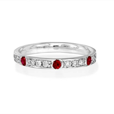 ruby ring 0.16ct. set with diamond in eternity ring smallest Image