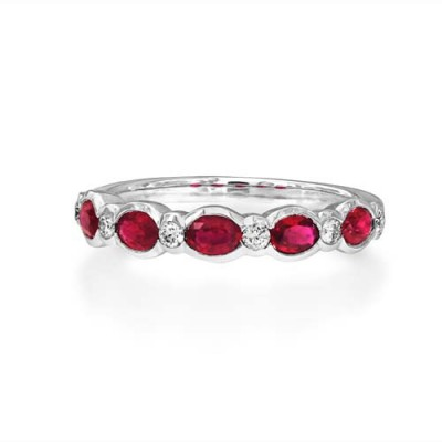 ruby ring 0.61ct. set with diamond in eternity ring smallest Image