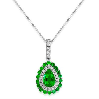 emerald pendant 0.46ct. set with diamond in cluster pendant smallest Image