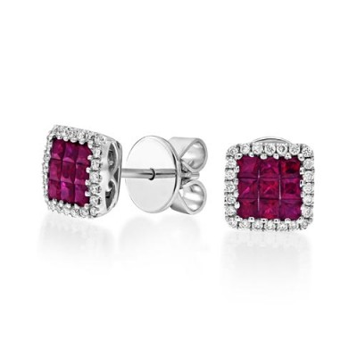 ruby earrings 0.76ct. set with diamond in cluster earrings smallest Image