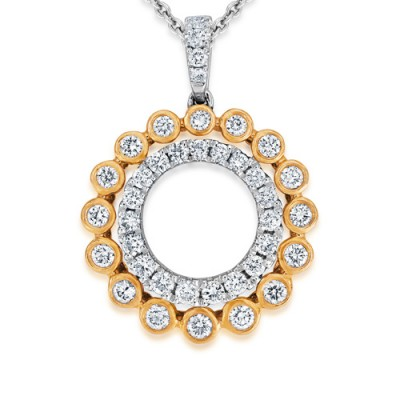 0.47ct. diamond pendant set with diamond in circle pendant smallest Image