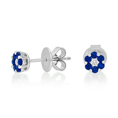 sapphire earrings 0.31ct. set with diamond in cluster earrings smallest Image