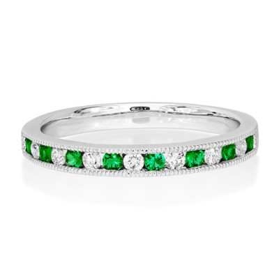 emerald ring 0.14ct. set with diamond in eternity ring smallest Image
