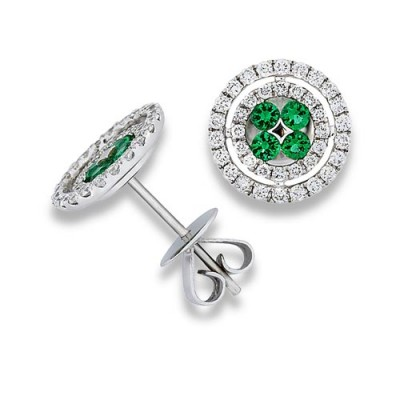 emerald earrings 0.32ct. set with diamond in cluster earrings smallest Image