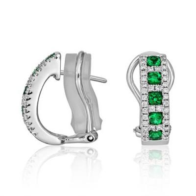 emerald earrings 0.4ct. set with diamond in hoop earrings smallest Image