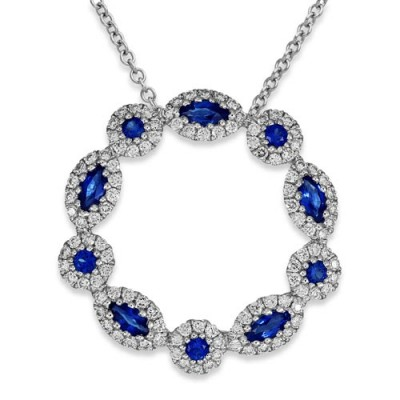sapphire pendant 0.61ct. set with diamond in cluster pendant smallest Image